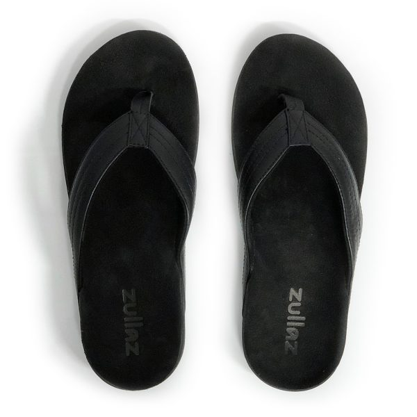 Zullaz 'Byron' Black – Full-grain leather Mens Thong